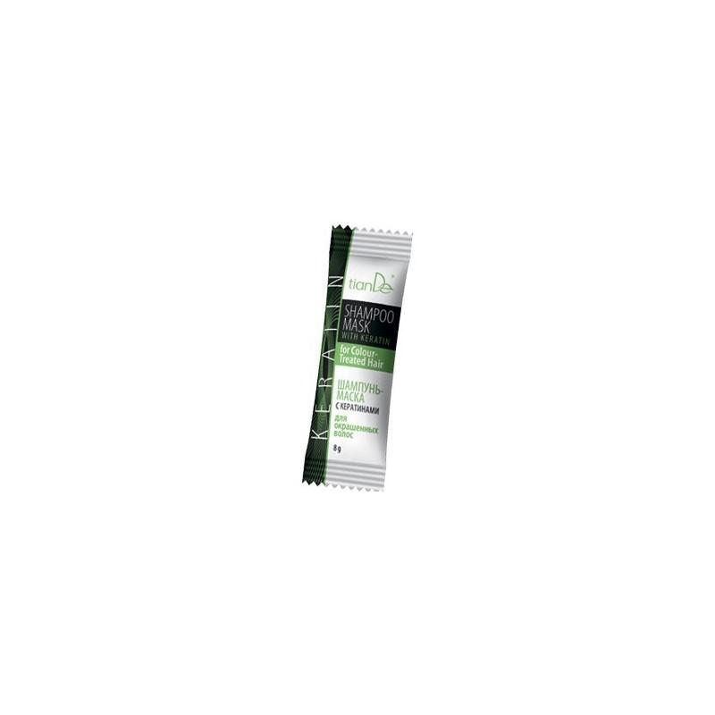 Szampon-maseczka z keratyną do włosów farbowanych - 8g