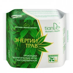 Herbs Sanitary Pads| Night Time| With Micro-Flora Test, Herbal Energy 8pcs, tiande 61903