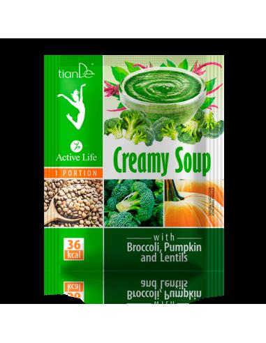 Zupa kremowa z brokułem, dynią i soczewicą