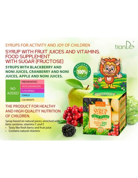 Vitamin enriched syrup with fruit and berry juice